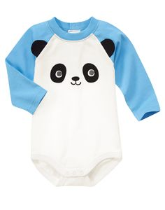 Panda Face Bodysuit at Gymboree Cute Outfits For Kids, Toddler Outfits, Baby Boy Outfits, Happy Panda, Baby Shirts, Boy Onsies, Gender Neutral Baby Clothes, Baby Kids Clothes, Cool Baby Stuff