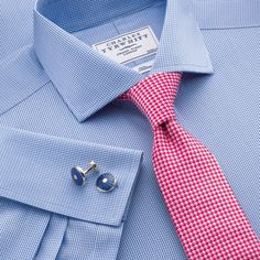 Blue puppytooth non-iron tailored fit dress shirt | Tailored fit dress shirts from Charles Tyrwhitt | CTShirts.com