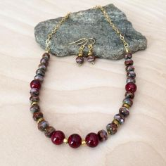 Red Bead Necklace Earrings Red Necklace Jewelry Set Czech Bead