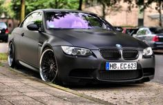 Matte black BMW M3 E93 Cabriolet G-power seen in Dusseldorf, Germany.