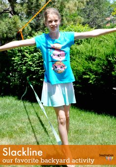 my kids love playing on the slackline Why the Slackline is Our Favorite Backyard Activity