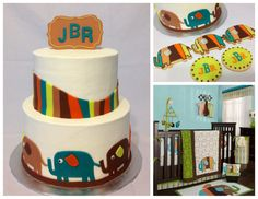 This is an elephant themed baby shower cake and cookies. We matched the cake and cookies with the baby's new room.
