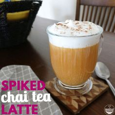 Looking for chai tea latte recipes? Try this easy spiked chai tea latte! Find out how to make this simple hot alcoholic drink at home! Ingredients are perfect for one and including Tazo tea bags and honey. Grab the full recipe here! Alcoholic Drinks At Home, Fall Drinks Alcohol, Chai Recipe, Latte Recipe, Halloween Cocktails, Blue Curacao, Hocus Pocus, Tea Latte, Spiced Rum