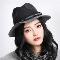 Fashion color block wool fedora hat for women cool studded felt fedora hats