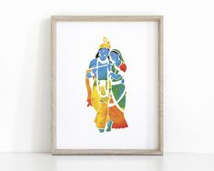 Blue Krishna Yoga Poster with Sanskrit Mantra Indian Illustration, Krishna Hindu, Sanskrit Mantra, Chakra Art, Small Canvas Art, Lord Krishna Images, Yoga Art, Printable Art, Wall Art
