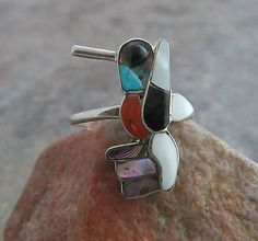 Zuni HUMMINGBIRD INLAY Sterling RING 7 Abalone~Coral~Onyx~MOP~Turquoise SW Pawn