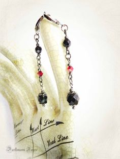Victorian Vampire Inspired Earrings. Blood Red Swarovski Crystals, Black Czech Fire Polished Faceted Beads, Gunmetal Findings & Wire. by DarkmoonFayre on Etsy