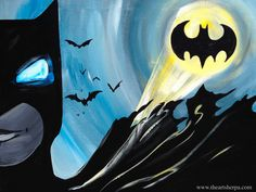 Batman Beginners Acrylic painting tutorial By The Art Sherpa Batman v Superman: Dawn of Justice Collaboration with Clive5art. Perfect Kids or family Paint Along.