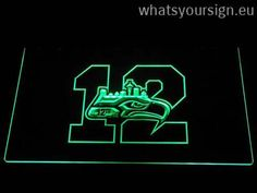 Seattle Seahawks 12th Man - LED neon light sign made of the highest quality clear plastic and briliant colorful LED illumination. The neon sign looks exactly the same from all angles thanks to the carving with the newest 3D laser engraving technology. This LED neon sign is a great gift idea! The neon is provided with a metal chain for displaying. Available in 3 sizes in following colours: Blue, Yellow, Red, Orange, White, Green and Purple!