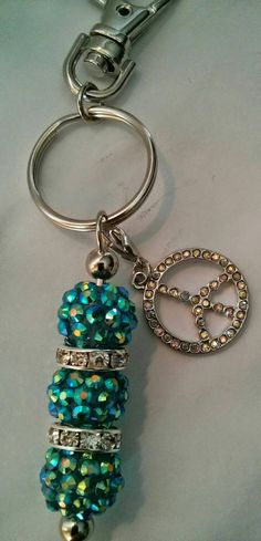 Beaded Keychain, Beaded Zipper Pull, Disco Ball Keychain, Piece Sign Zipper Pull, Blue and Silver Key Chain