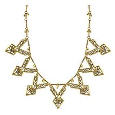 T.R.U. by 1928 Jewelry - Matte Antiqued 14K Gold-Dipped Chevron Bib... ($63) ❤ liked on Polyvore featuring jewelry, necklaces, tribal jewelry, 14 karat gold necklace, beading jewelry, 14k jewelry and 1928 jewelry