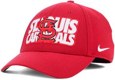 Display your team spirit with the St. Louis Cardinals Verbiage Logo cap. With a sleek design that displays the logo inside the team name, this hat is sure to knock one out of the park. Mid crown Structured fit Normal bill Applique team design at front Nike swoosh logo at left side Stretch fitted Polyester/spandex Spot clean only