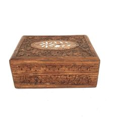 Jewelry Box Ornate Wood Hand Carved Floral Leaves Brown Victorian Style Inlaid  #Unbranded