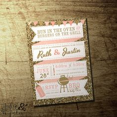 gold glitter and pink couples bbq baby shower invitation coed baby shower baby girl high quality digital printable file bun in the oven