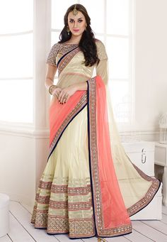 Off White and Peach Net and Satin Lehenga Style Saree with Blouse