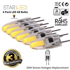 6 Pack StarLED 20W Equivalent G8 LED Xenon Halogen Replacement Warm White 3000K #StarLED