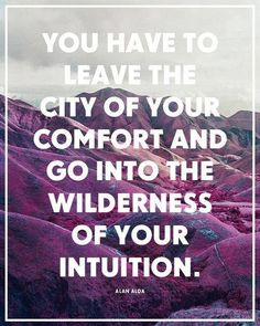 """You have to leave the city of your comfort and go into the wilderness of your intuition."""