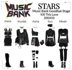 Kpop Fashion Outfits, Stage Outfits, Edgy Outfits, Korean Outfits, Dance Outfits, Pretty Outfits, Girl Outfits, Black Outfit Edgy, Kpop Shirts