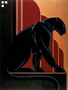 Art Deco 'Black Panther' by Nick Gaetano / Illustration / Posters Old Poster, Poster Art, Kunst Poster, Art Deco Posters, Vintage Posters, Art Deco Illustration, Digital Illustration, Art Nouveau, Moda Art Deco