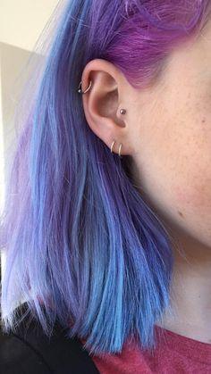 Blue and purple hair. Hair Color Blue, Cool Hair Color, Blue Purple Hair, Dye My Hair, New Hair, Hair Inspo, Hair Inspiration, Aesthetic Hair, Coloured Hair