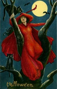 Halloween Red Robed Witch Black Cat Postcard Print | eBay