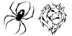 Black Spider And Tribal Lion Tattoo Designs | Tattoobite.com