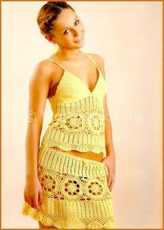 Желтый комплект   Вязание для женщин   Вязание спицами и крючком. Схемы вязания.