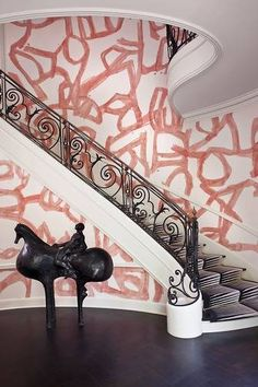 A Kelly Wearstler interior with wallpaper by Porter Teleo.