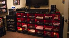 Not only do I wish I had this to hold consoles; I wish I had all of the consoles! Video Game Heaven, Best Gaming Setup, Gamer Setup, Gaming Room Setup, Video Game Rooms, Video Games, Video Game Crafts, Video Game Decor, Gamer Room