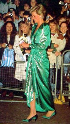 Green Sequins   Princess Diana   Love the Satin Shoes!