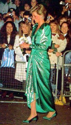 Green Sequins   Princess Diana   Love the Satin Shoes!