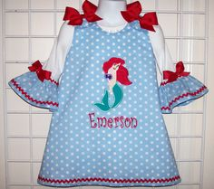 Ariel Little Mermaid Applique Polka Dot A-line Dress AND Ruffled T-shirt starting at size 3 mo going up to 6X