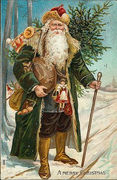Victorian Father Christmas Santa Claus # 701 from an Antique Christmas Card. Merry Christmas Santa, Old Christmas, Christmas Scenes, Victorian Christmas, Father Christmas, Christmas Greetings, Christmas Crafts, Christmas Mantles, Christmas Villages