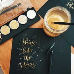 How to use Finetec paints as ink with your pointed pen calligraphy. Follow this easy tutorial to make beautiful modern calligraphy pieces.