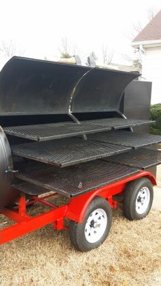 Reverse Flow smoker with insulated firebox and insulated warming tower. Triple rack per door. Custom Bbq Grills, Custom Bbq Smokers, Custom Bbq Pits, Bbq Smoker Trailer, Bbq Pit Smoker, Barbecue Restaurant, Barbecue Grill, Oil Drum Bbq, Barbacoa