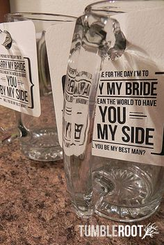 """pretty cool manly way of popping the question """"will you be my best man?"""""""