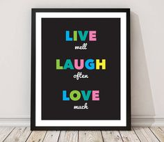 Typographic Print live laugh love Printable Art by MyDreamWall