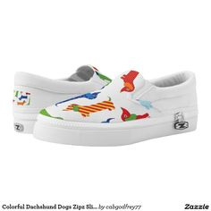 Colorful Dachshund Dogs Zipz Slip On Shoes Printed Shoes