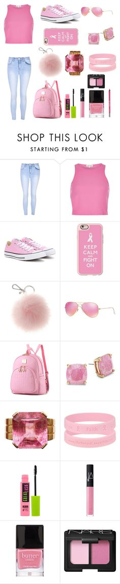 """""""Pink for breast cancer"""" by joverdahl ❤ liked on Polyvore featuring Glamorous, River Island, Converse, Casetify, Ray-Ban, Kate Spade, Maybelline, NARS Cosmetics, Butter London and Urban Decay"""