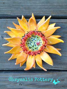 """Heart Sunflower"" sunflower wall piece ~ Chrysalis Pottery www.facebook.com/BarbJohnson.pottery"