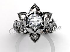 Lotus Flower Engagement Ring 14k white gold diamond unusual