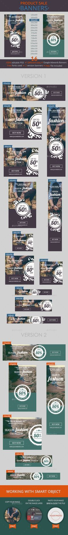 Product Sale Banners - Banners & Ads Web Template PSD. Download here: http://graphicriver.net/item/product-sale-banners/10908988?s_rank=1757&ref=yinkira