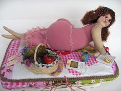 old lady pincushion  (having picnic on sew basket)