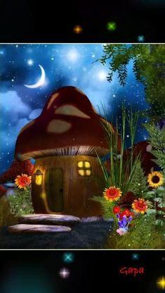 Mushroom House, Mushroom Art, Fantasy Kunst, Fantasy Art, Fantasy House, Illustration, Cross Paintings, Fantasy Landscape, Fairy Art