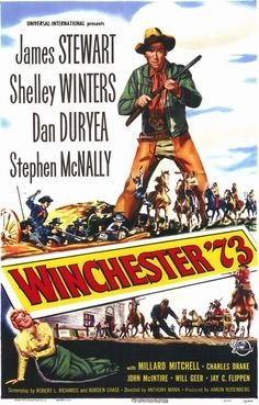 """""""Winchester 73"""" in 1950 directed by Anthony Mann (San Diego 1906 - Berlin 1967). American Western film. The film is about the journey of a prized rifle from one ill-fated owner to another and a cowboy's search for a murderous fugitive. Written by Borden Chase and Robert L. Richards the film received a Writers Guild of America Award nomination for Best Written American Western."""