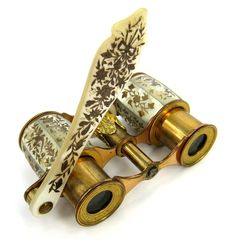 French mother of pearl inlaid opera glasses, late 19th century.