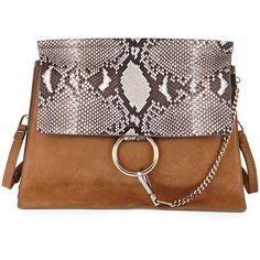 Chloe Faye Python Flap Shoulder Bag (9,715 SAR) ❤ liked on Polyvore featuring…