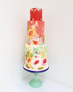 We take a look at one of the hottest cake trends right now and some of the artistic cake designers creating Spatula Painted Wedding Cake masterpieces. Big Cakes, Sweet Cakes, Buttercream Designs, Buttercream Flowers, Watercolor Wedding Cake, Jenny Cookies, Painted Wedding Cake, Cake Decorating For Beginners, Cake Show