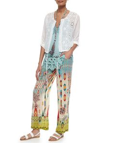 Cropped Eyelet Drawstring Jacket, Crochet-Trim Georgette Cami, Eli Braided Fringe Necklace & Tribal-Print Drawstring Pants   by Johnny Was at Neiman Marcus.