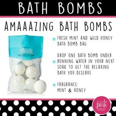 Amaaazing Bath Bombs! Mint & Honey will fill your home spa with delightful relaxing fragrance. 6 pack for $18 www.poshmetime.com